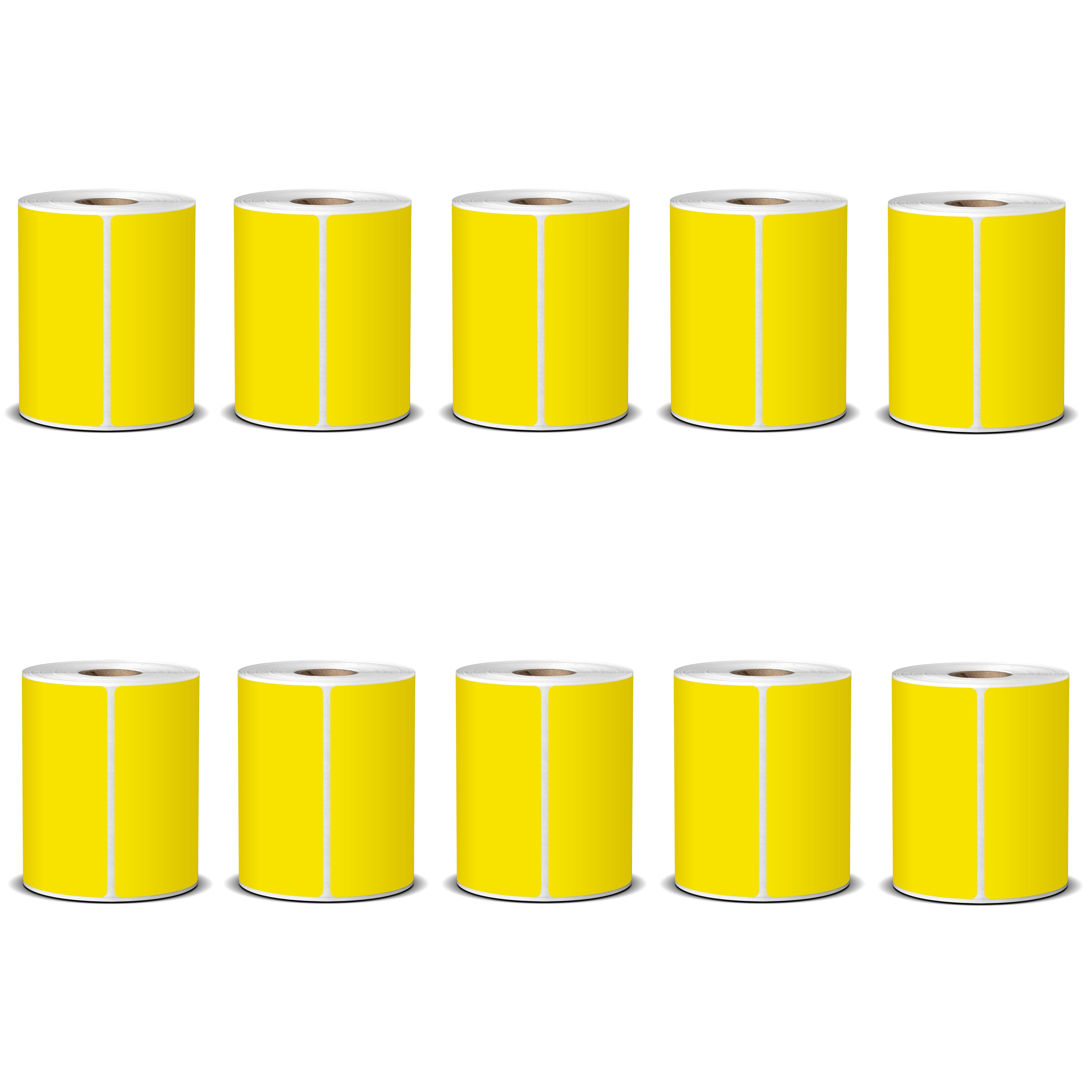 100X150 Yellow Direct Thermal Labels 400/Roll - 10 Rolls