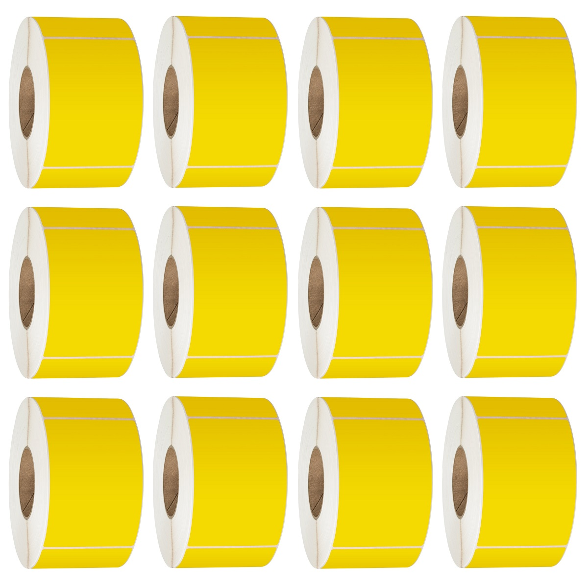76X48 Thermal Transfer Labels 3000/Roll 76mm Core Yellow - 12 Rolls