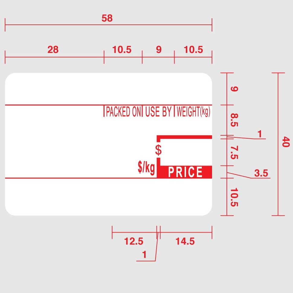 View Cas 101 Thermal Label 58 X 40 (pre-printed)