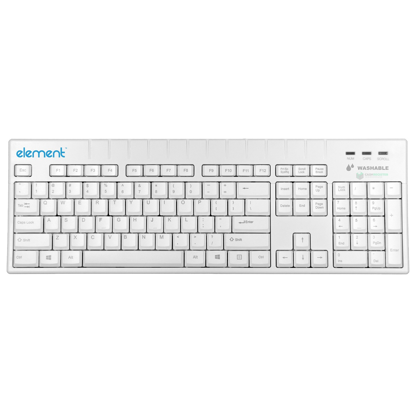 View Element ECT104-WH Medical Grade Washable Keyboard with USB Interface - White