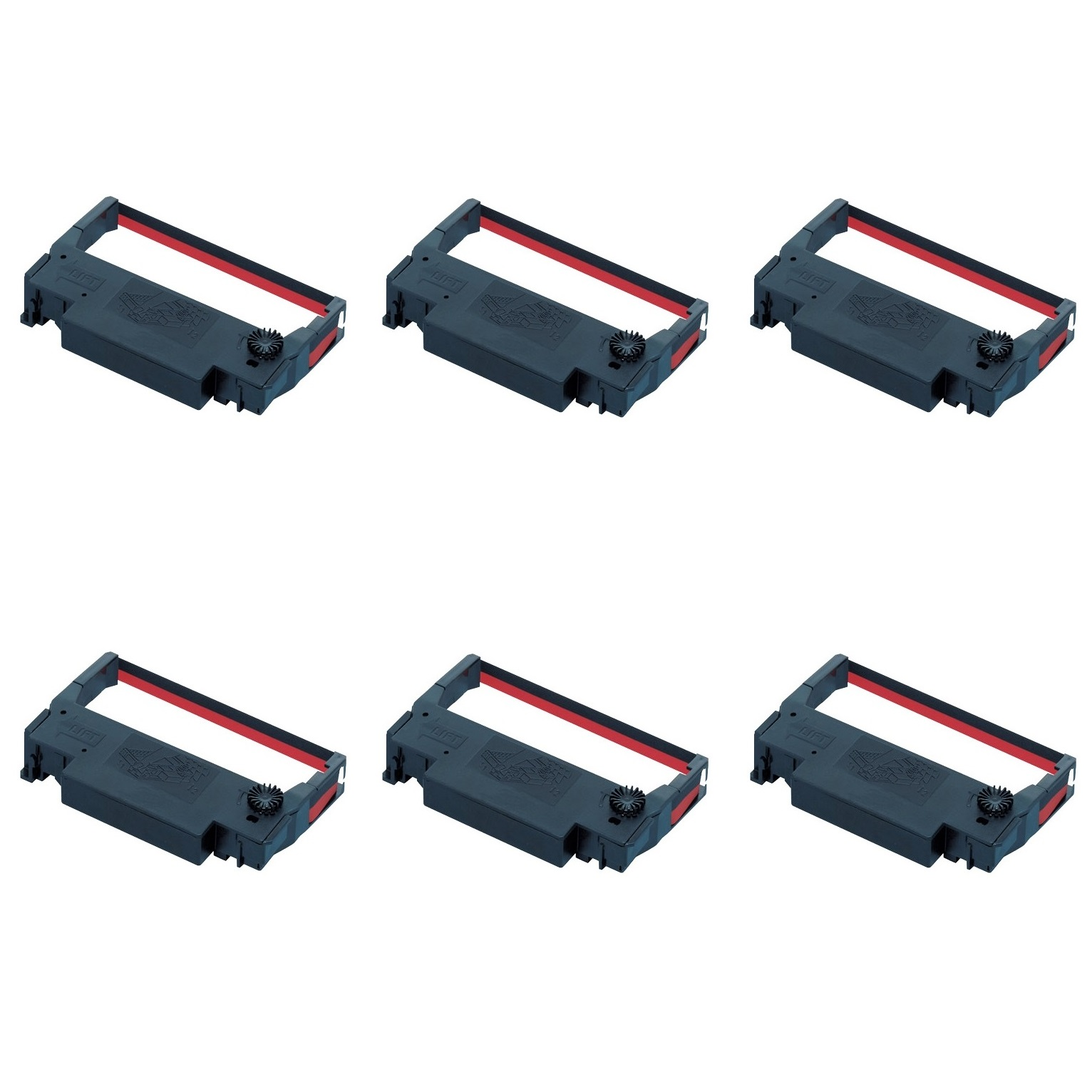 Epson ERC 30/34/38 Red & Black Ink Ribbons - 6 Pack