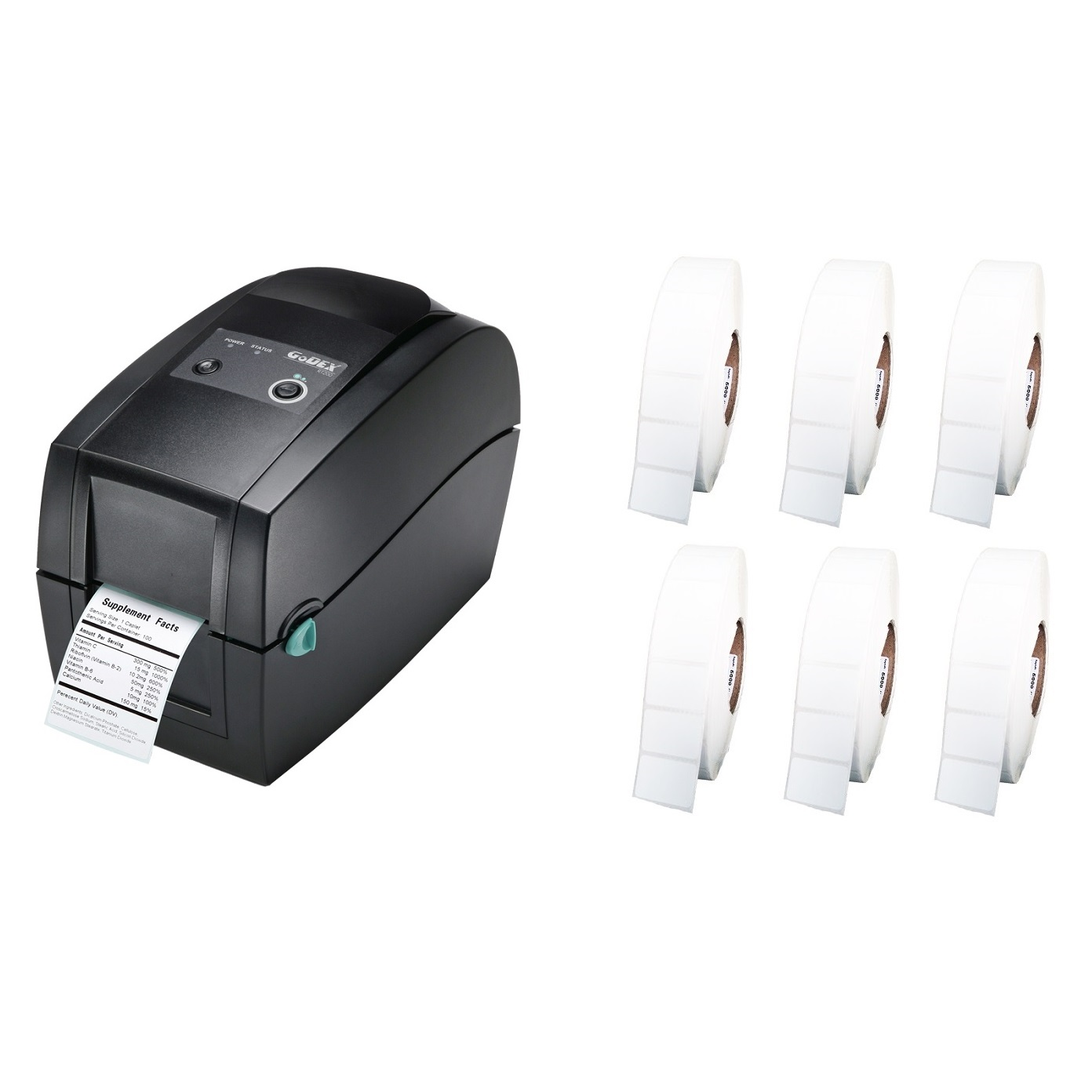 View GoDEX RT200 Label Printer + 50mm x 28mm Labels Bundle