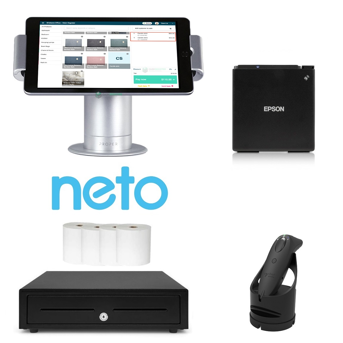 Neto Retail iPad POS Bundle with Bluetooth Barcode Scanner