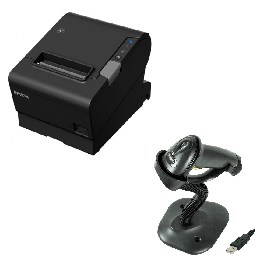 Epson TM-T88VI POS Receipt Printer with Zebra LS2208 Barcode Scanner