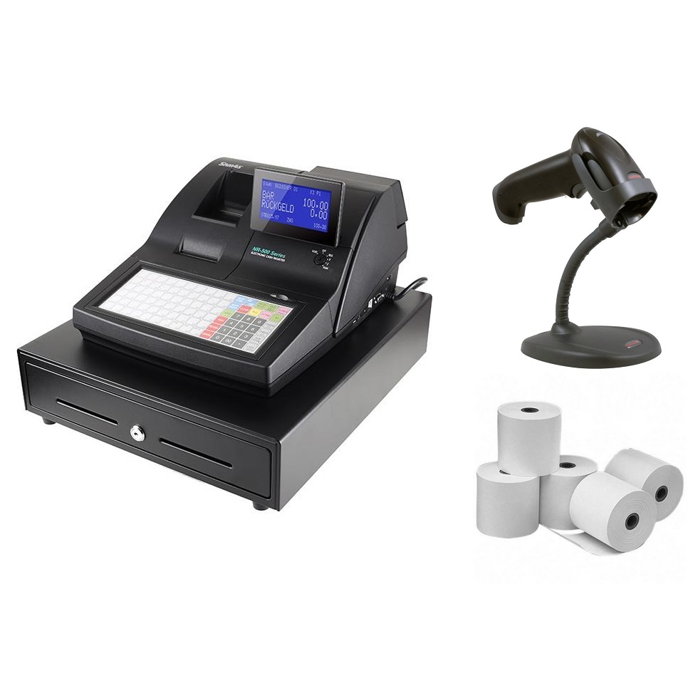 Sam4s NR510 Cash Register + Honeywell 1250G Scanner Bundle