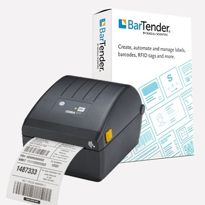 View Zebra ZD220D USB Label Printer + BarTender Starter License Bundle