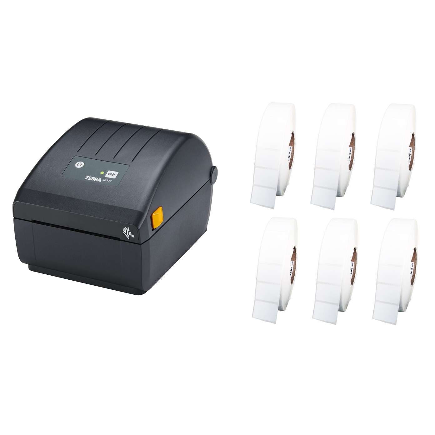 View Zebra ZD220 Label Printer + 50mm x 28mm Labels Bundle