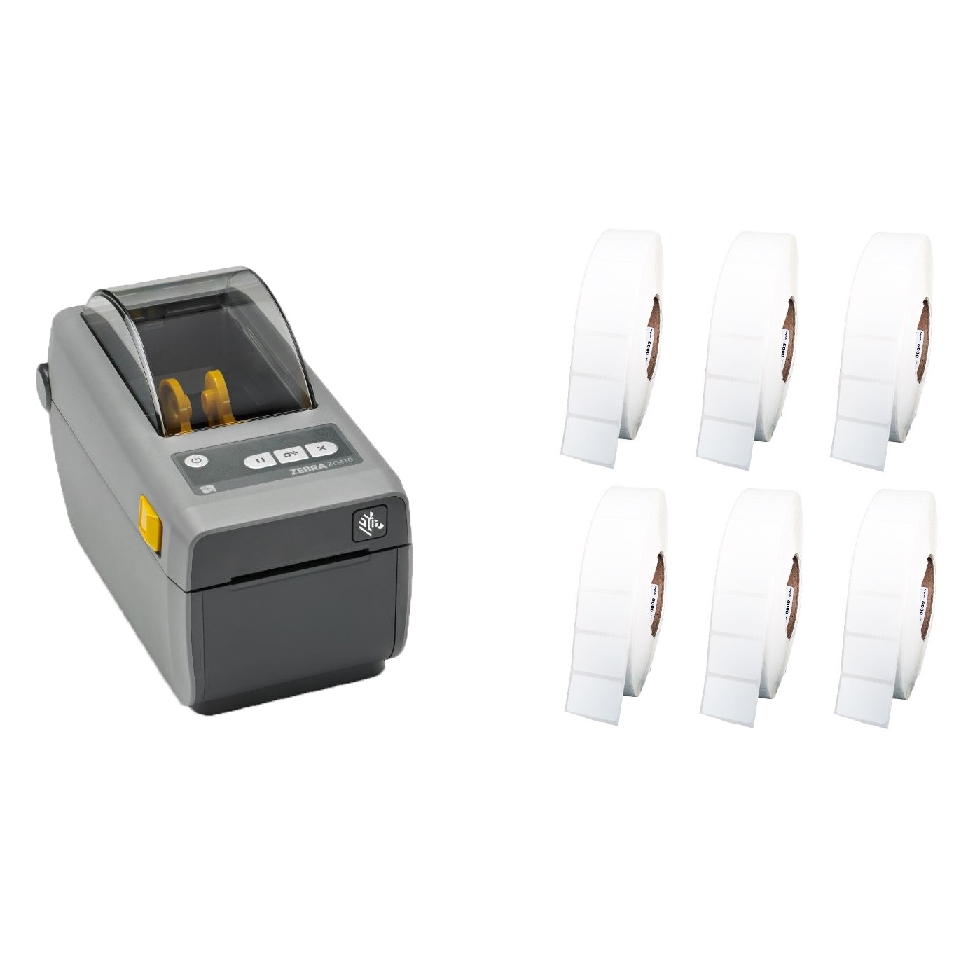 View Zebra ZD410 Label Printer + 50mm x 28mm Labels Bundle