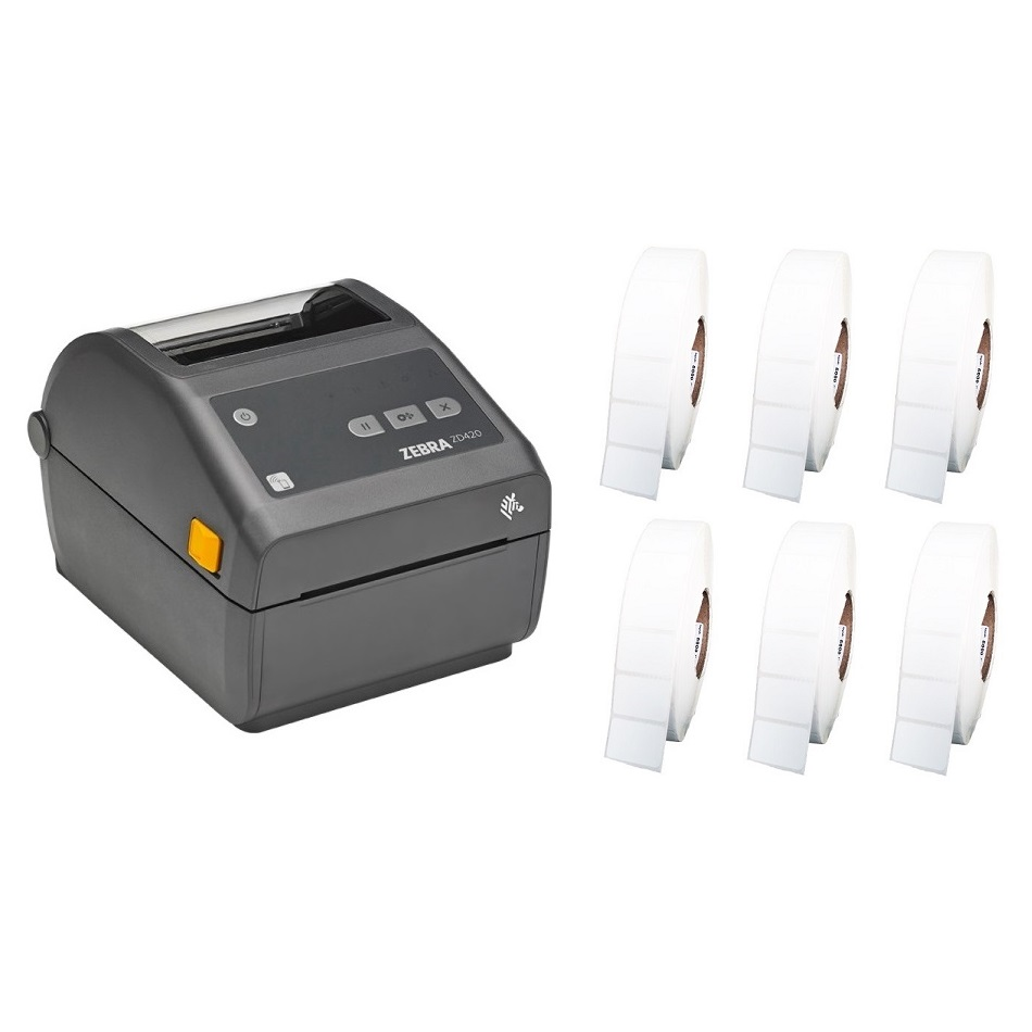 View Zebra ZD420 Label Printer + 50mm x 28mm Labels Bundle